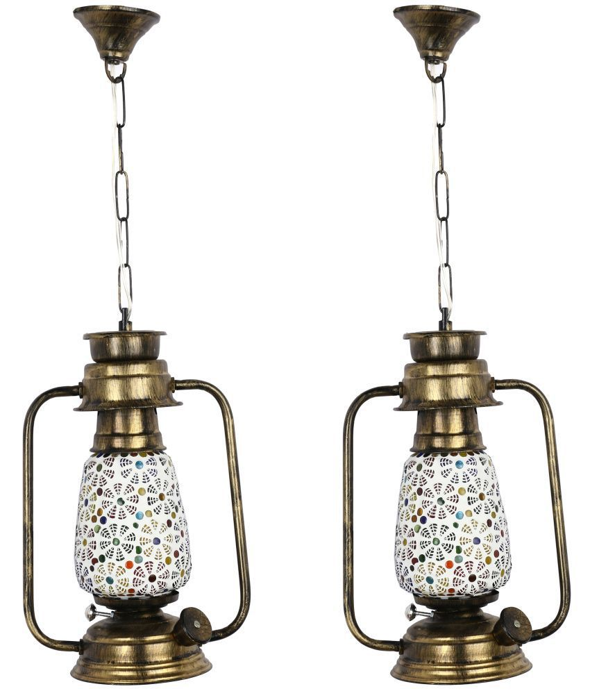 Somil Antique Lantern Lamp With Colorful Glass Perfect Match Of Trading And Traditional -A16 Hanging Lanterns 61 - Pack of 2