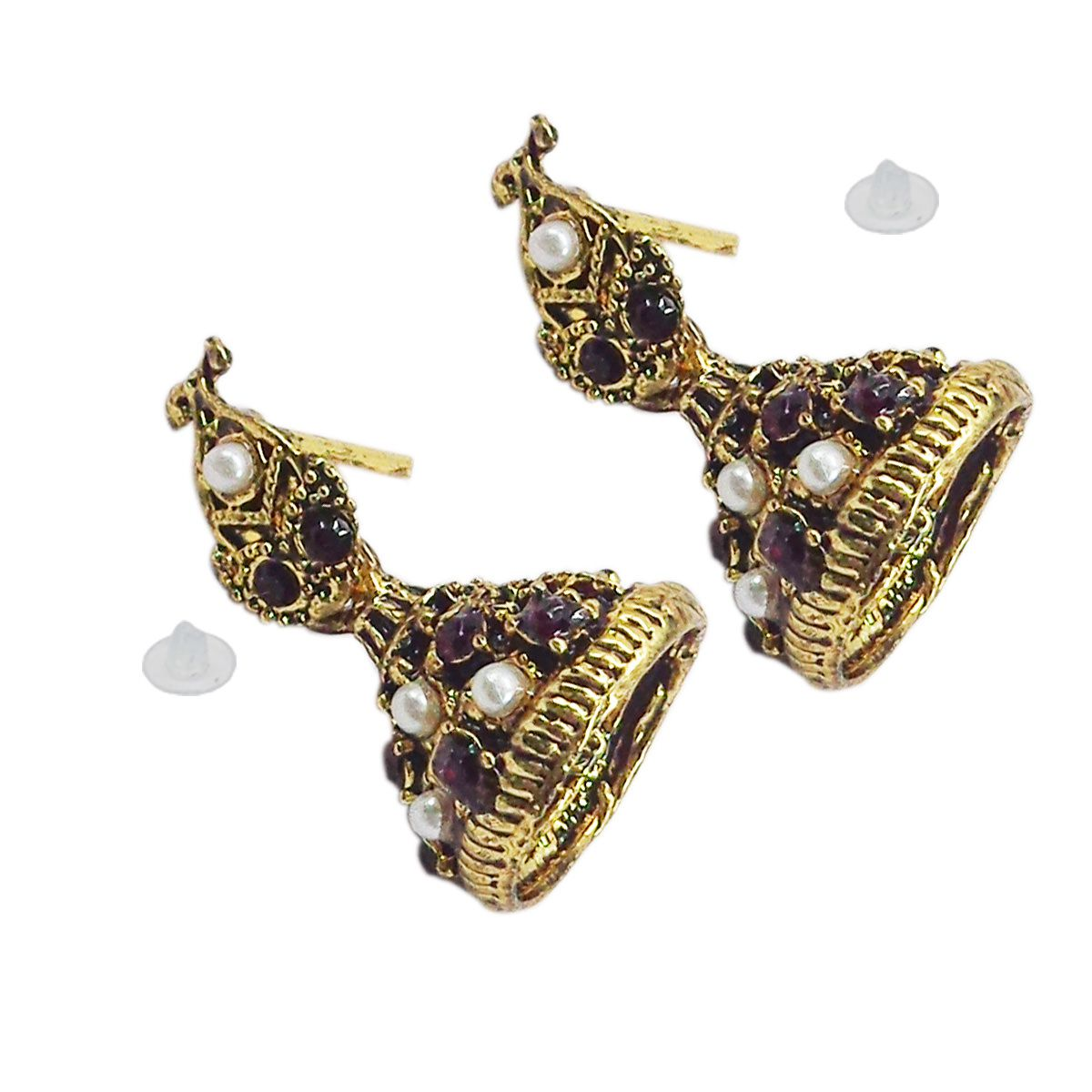 Tommy Vans-New Bollywood Designer and Anniversary or Partywear Gold with Brown Jhumka  Earrings