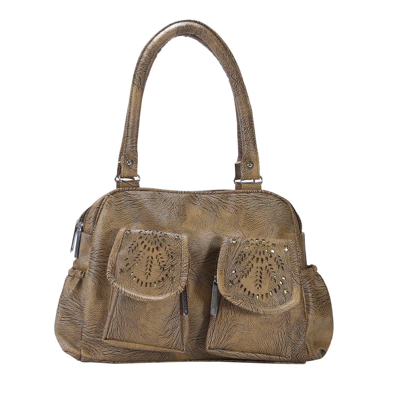 Desence Khaki Faux Leather Shoulder Bag