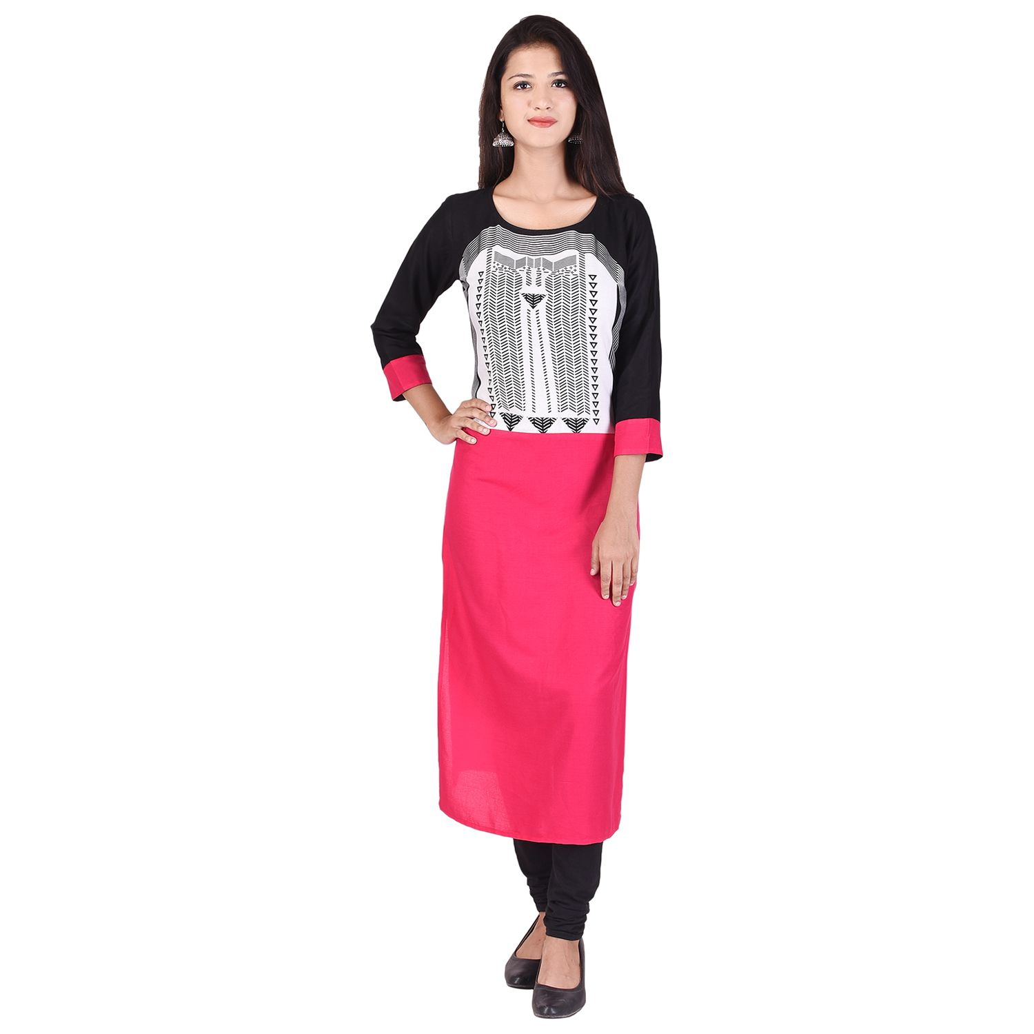 Qalb Black Cotton Straight Kurti