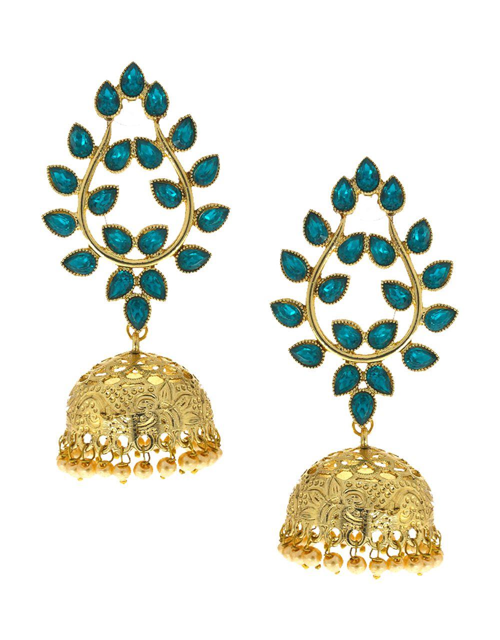 Anuradha Art Exclusive Blue Colour Studded Sparkling Stones Eye-Pleasing Designer Jhumki/Jhumkas Traditional Earrings For Women/Girls