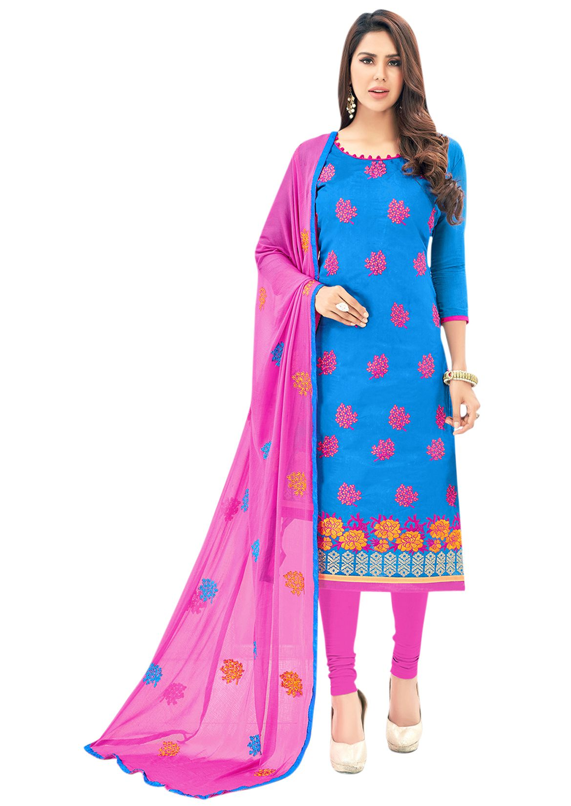 7fab98a5714 Blissta Pink and Blue Chanderi Dress Material - Buy Blissta Pink and Blue  Chanderi Dress Material Online at Best Prices in India on Snapdeal