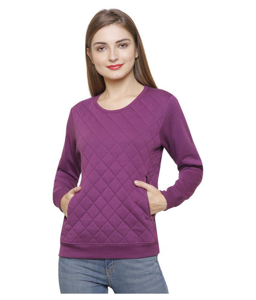 Maggivox Cotton Purple Non Zippered Sweatshirt