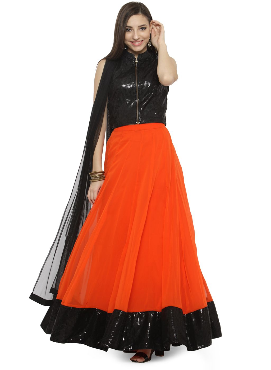 Just Wow Poly Georgette Orange Fit And Flare Dress Buy