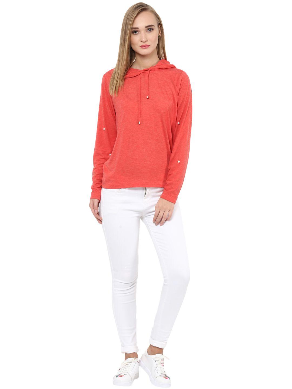 Besiva Woollen Orange Hooded Sweatshirt