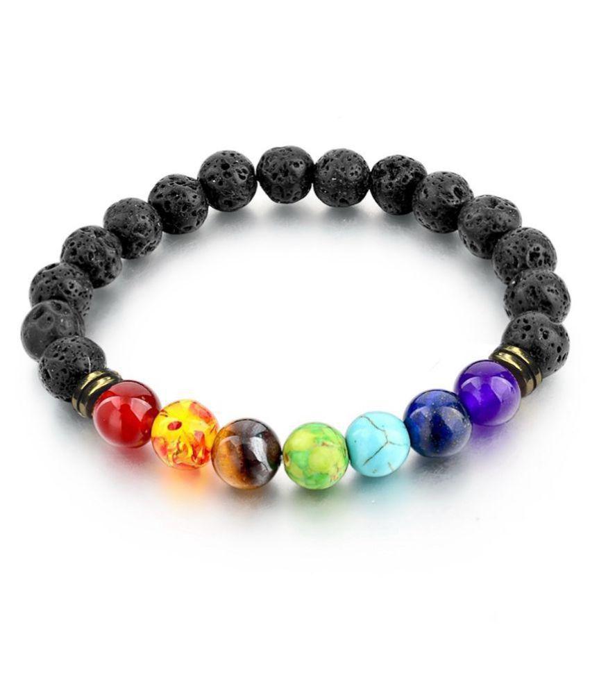 Maryam-Jewels Black And Multi Colour Natural Stone Strand Bangle For Men, Women, Boys, Girls