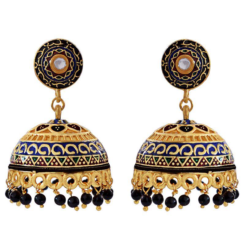 Traditional Meenakari gold plated brass tokri jhumki earring set-600
