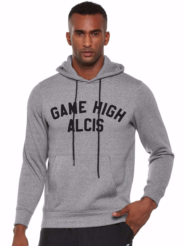 Alcis Men Grey Applique Hoodie