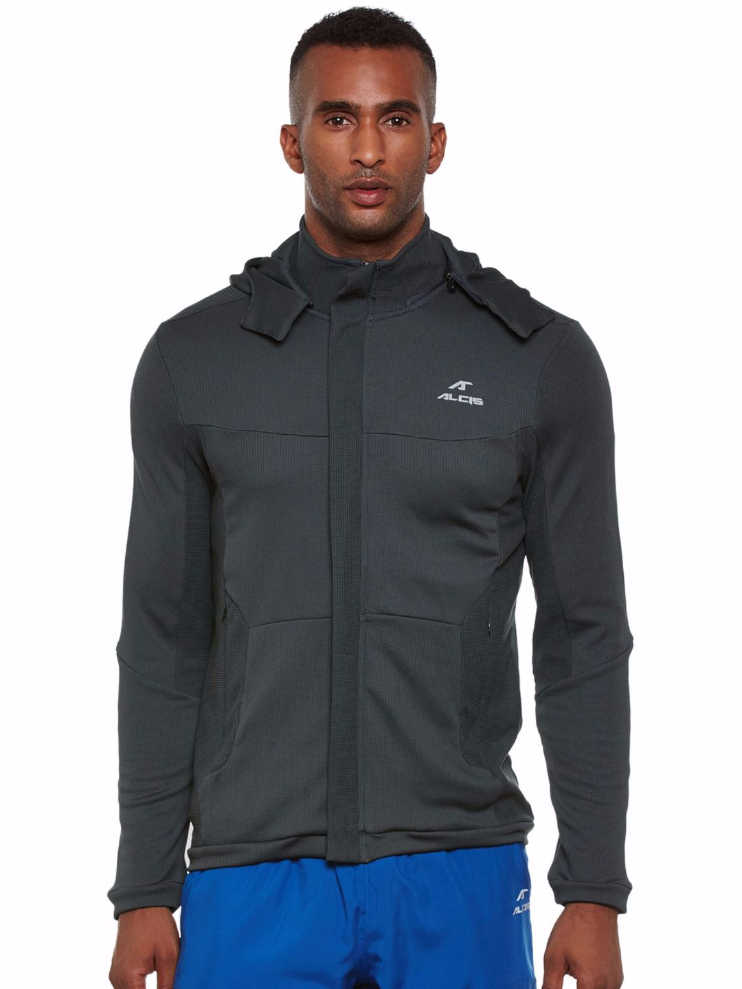 Alcis Men Grey Running Hood Jacket