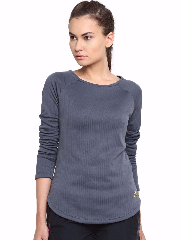 Alcis Women Grey Long Sleeve Tee