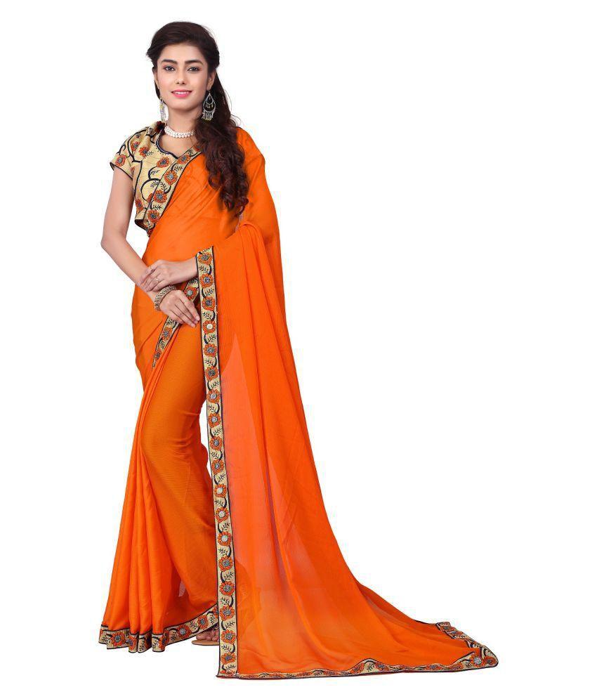 Shoppershopee Orange Chiffon Saree