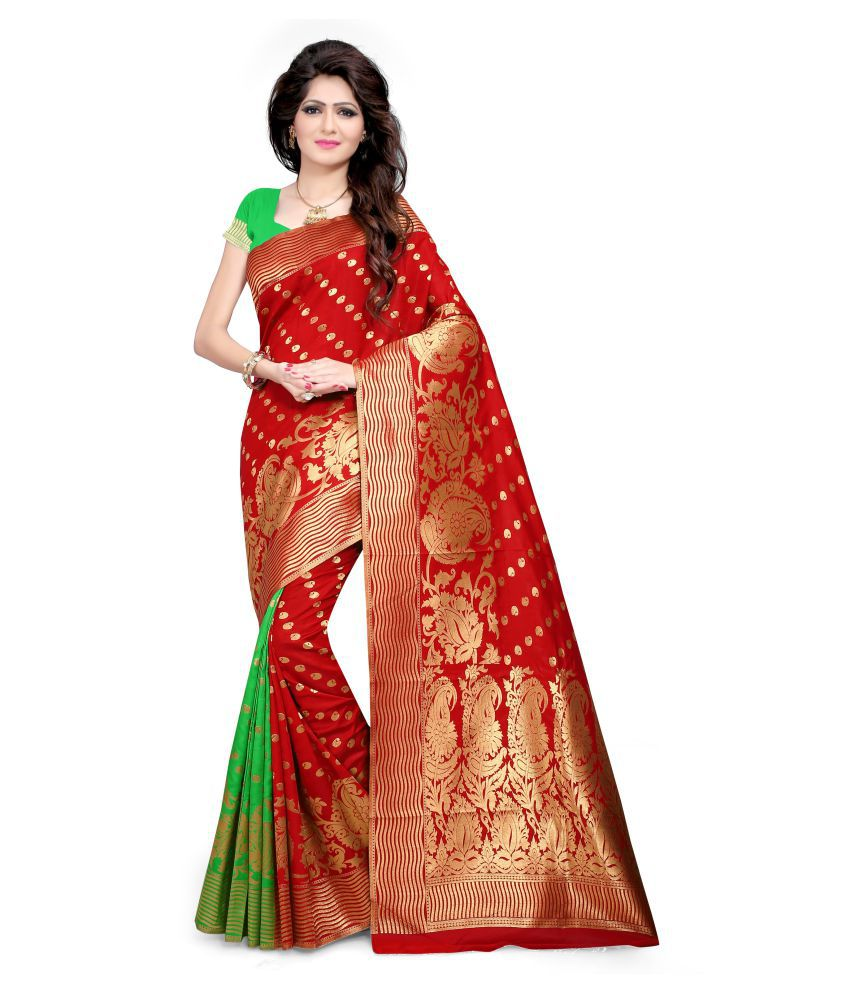 Manvaa Red and Orange Silk Saree
