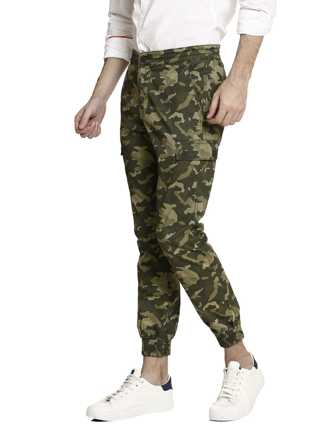 United Colors of Benetton Olive Green Regular -Fit Flat Cargos