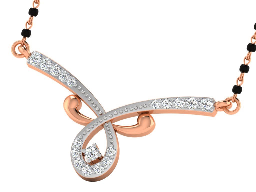 His & Her 9k Rose Gold Diamond Mangalsutra