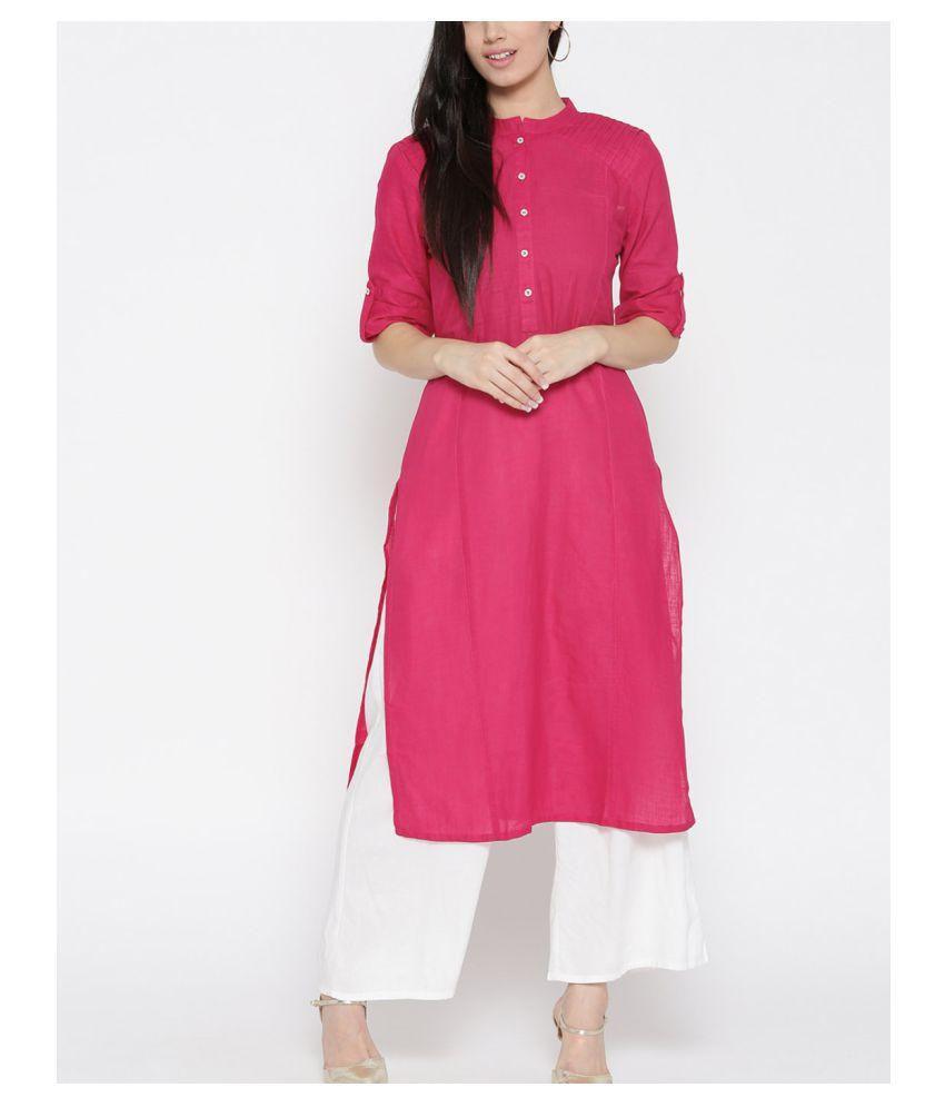 ATULYA Pink Cotton Straight Kurti