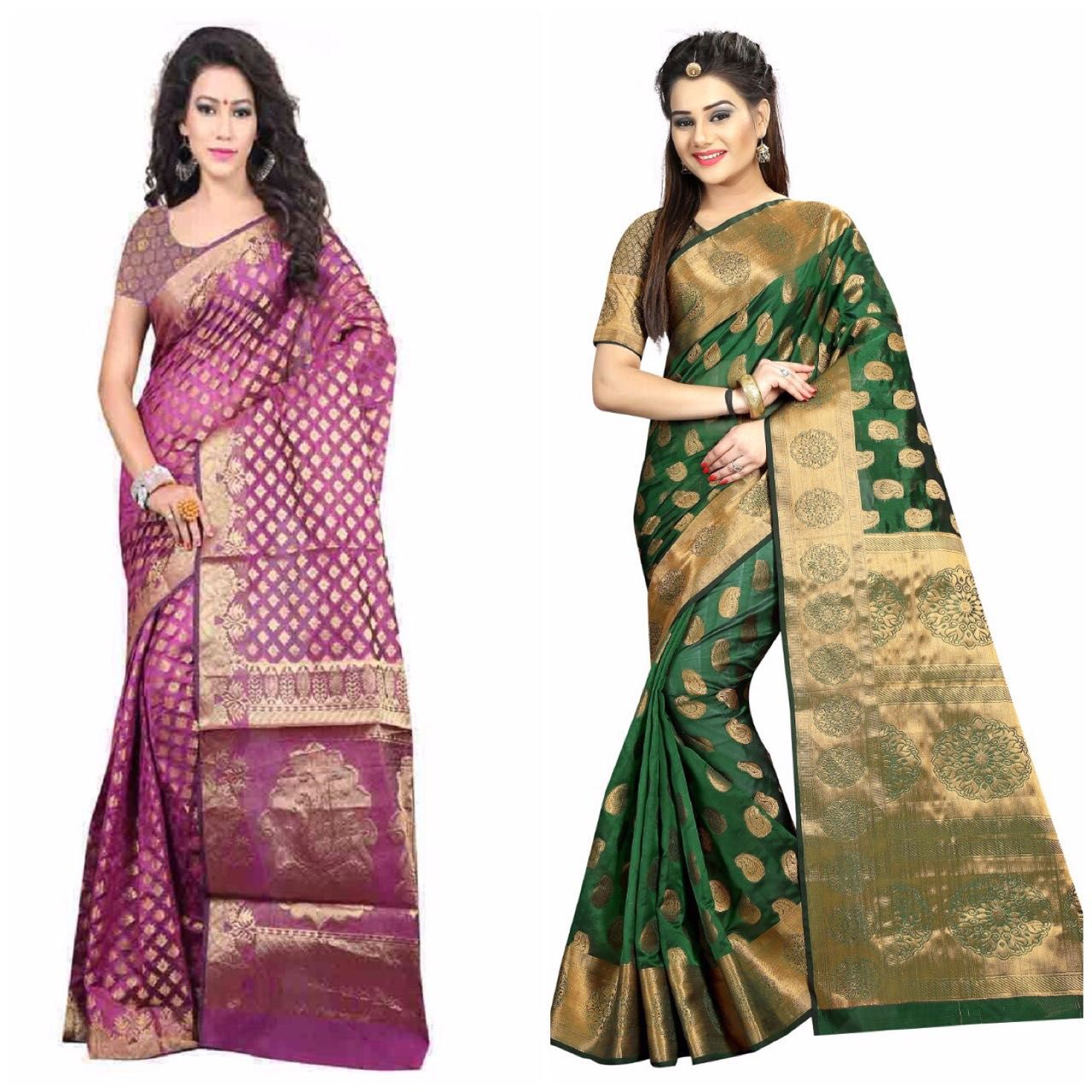 Gazal Fashions Multicoloured Banarasi Silk Saree Combos