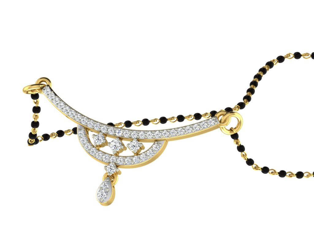 His & Her 9k Yellow Gold Diamond Mangalsutra