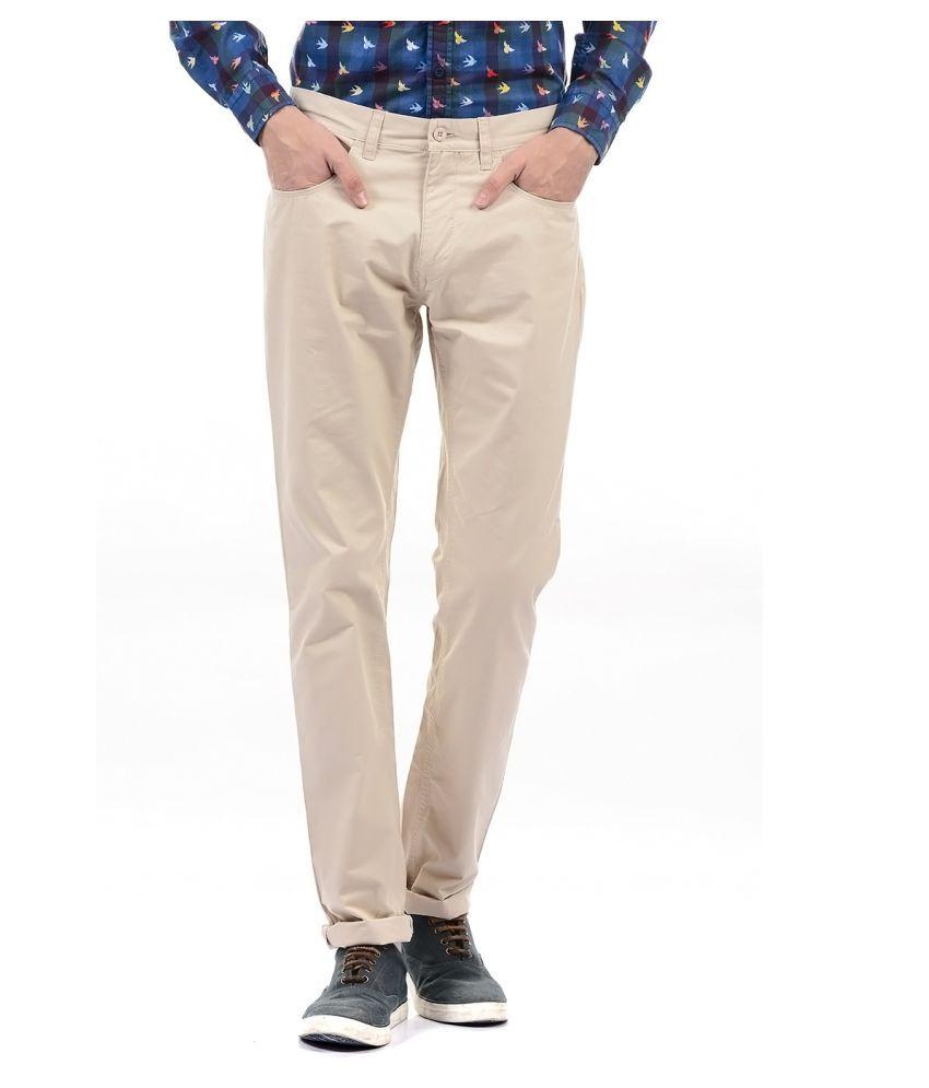 Izod Beige Regular -Fit Flat Trousers