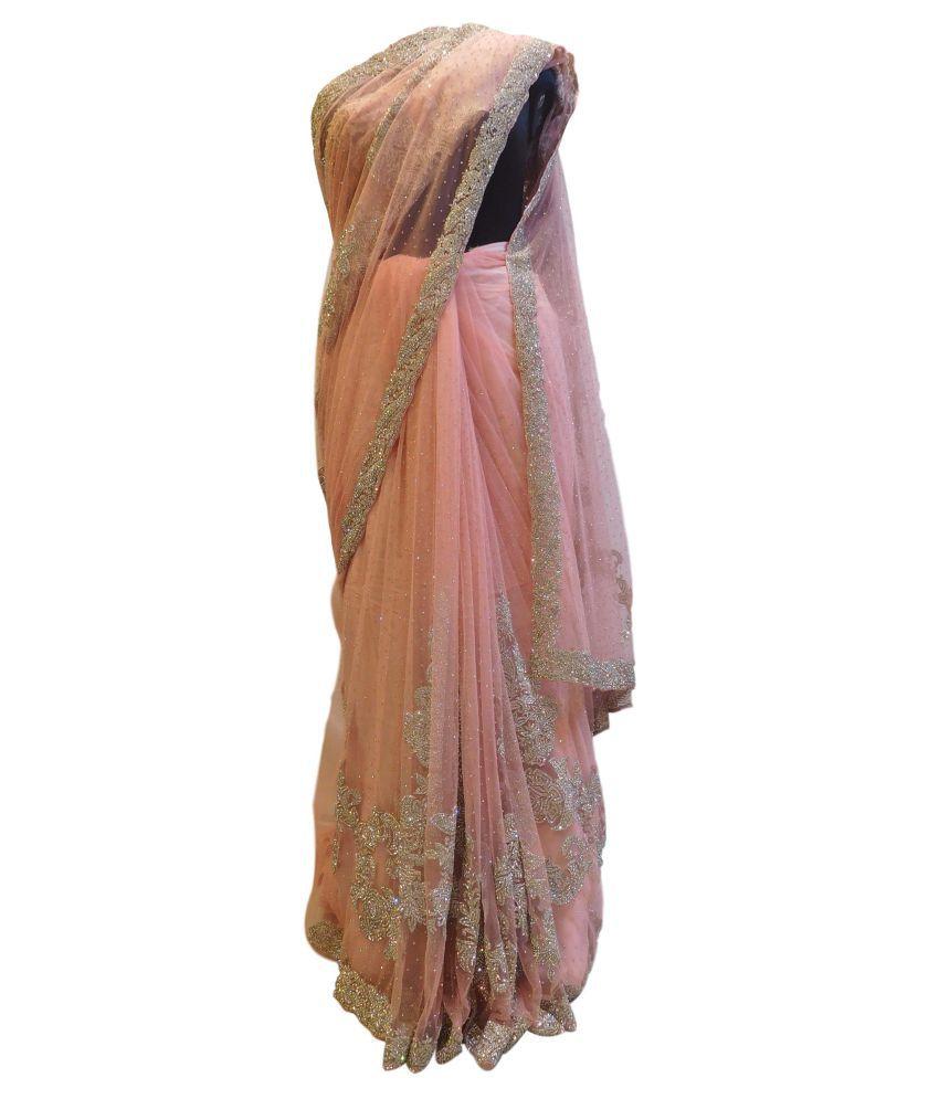 SMSAREE Pink Net Saree