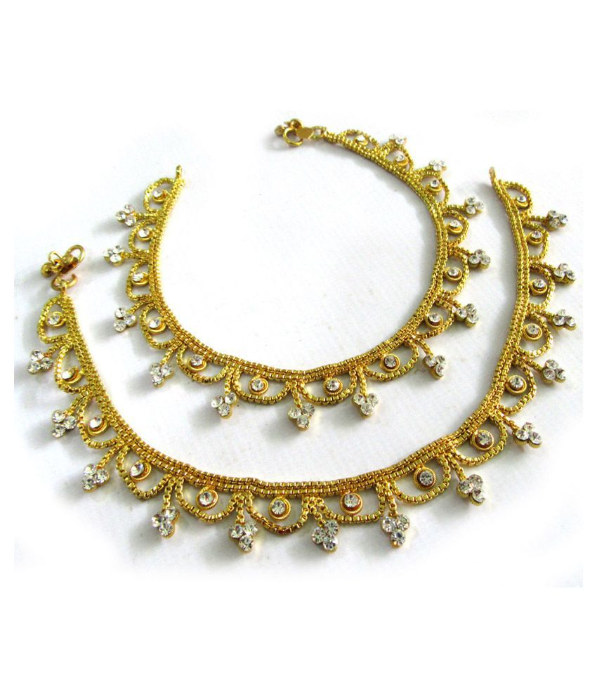 Gold Plated CZ Diamond Frill Sara Anklet Payal with Indian traditional