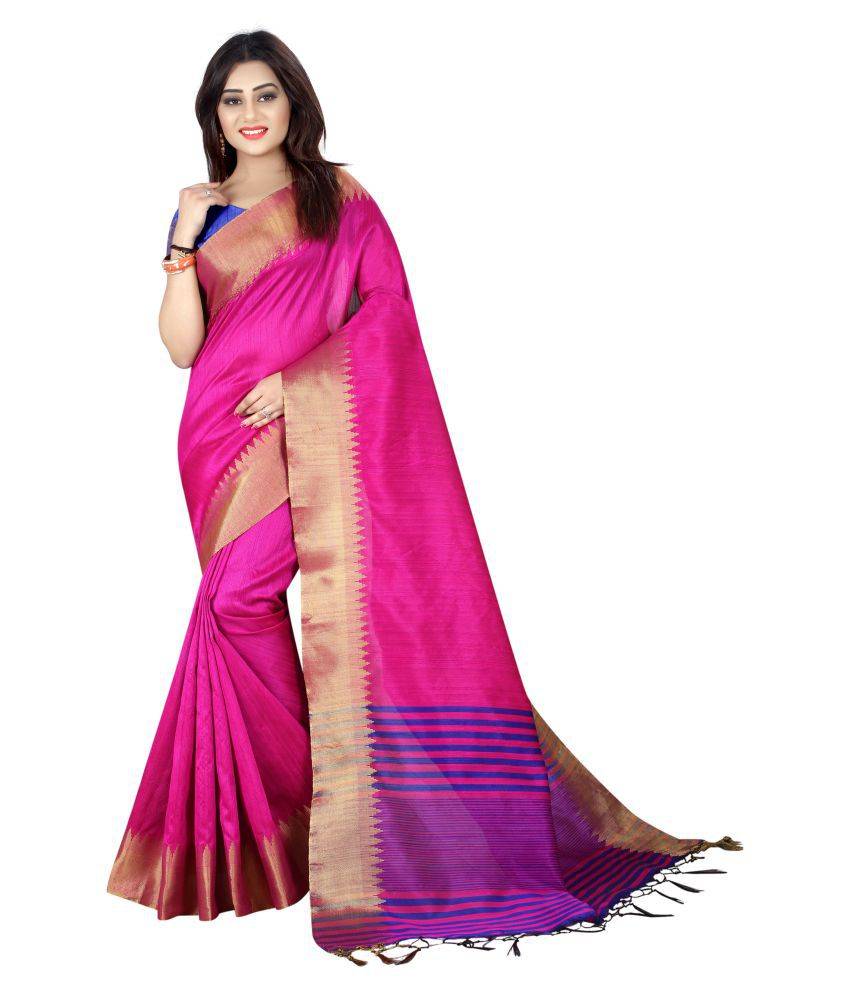 Priya Fashion Pink and Purple Art Silk Saree