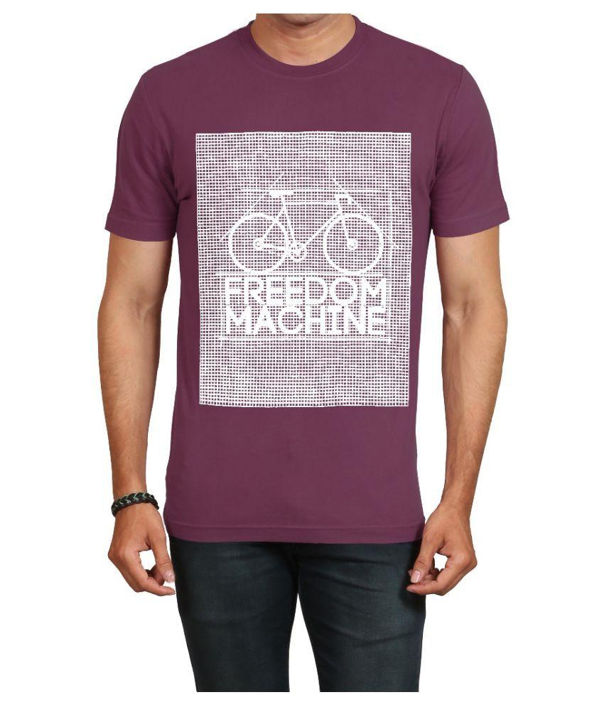 IND TWIST Purple Round T-Shirt Pack of 1