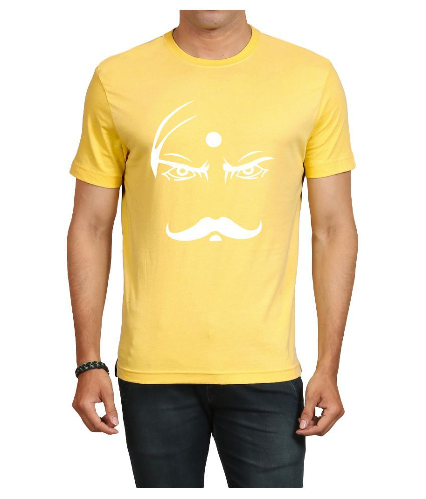 IND TWIST Yellow Round T-Shirt Pack of 1