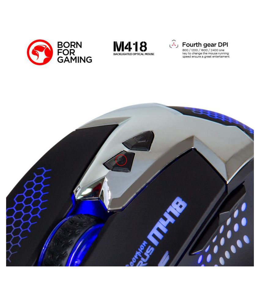 25a4f7880c0 Buy Marvo M418 Optical Mouse ( Wired ) 7-color backlighting . Online ...