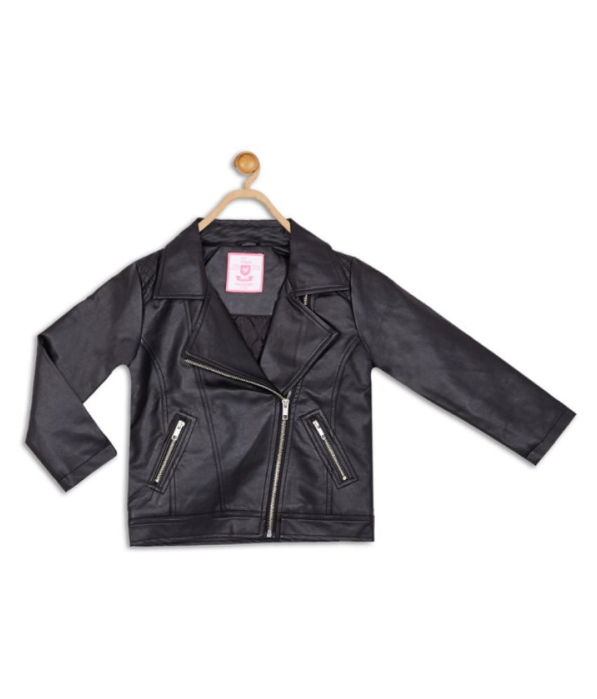 612 League Black Girls Leather Jacket