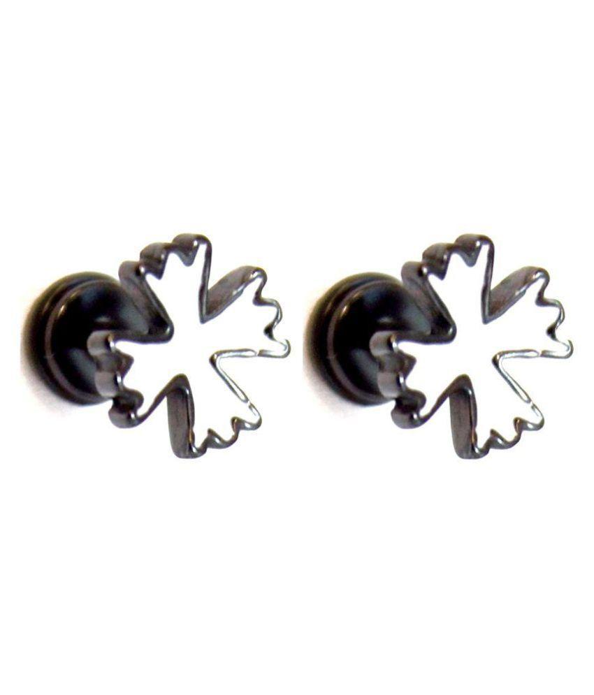 316L Steel Black Cross Fashion Screw Barbell Earrings / Studs for Men (Pair Of)
