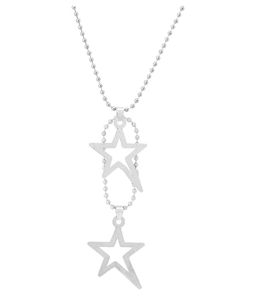 Dare by Voylla Silver Plated Dual Star Pendant Chain for Men