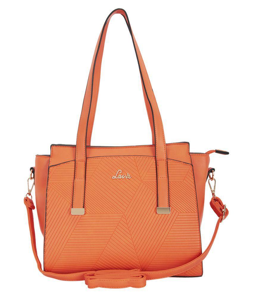 Lavie Orange Faux Leather Satchel Bag