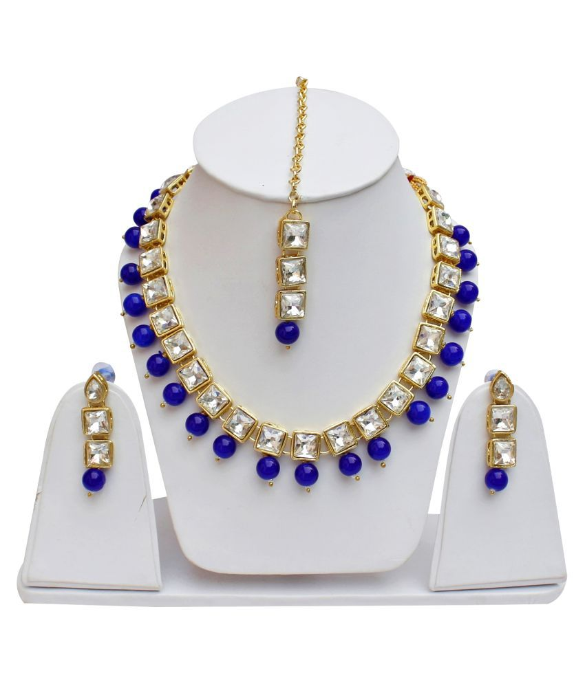 Lucky Jewellery Elegant Blue Color Stone Necklace Set For Girls & Women