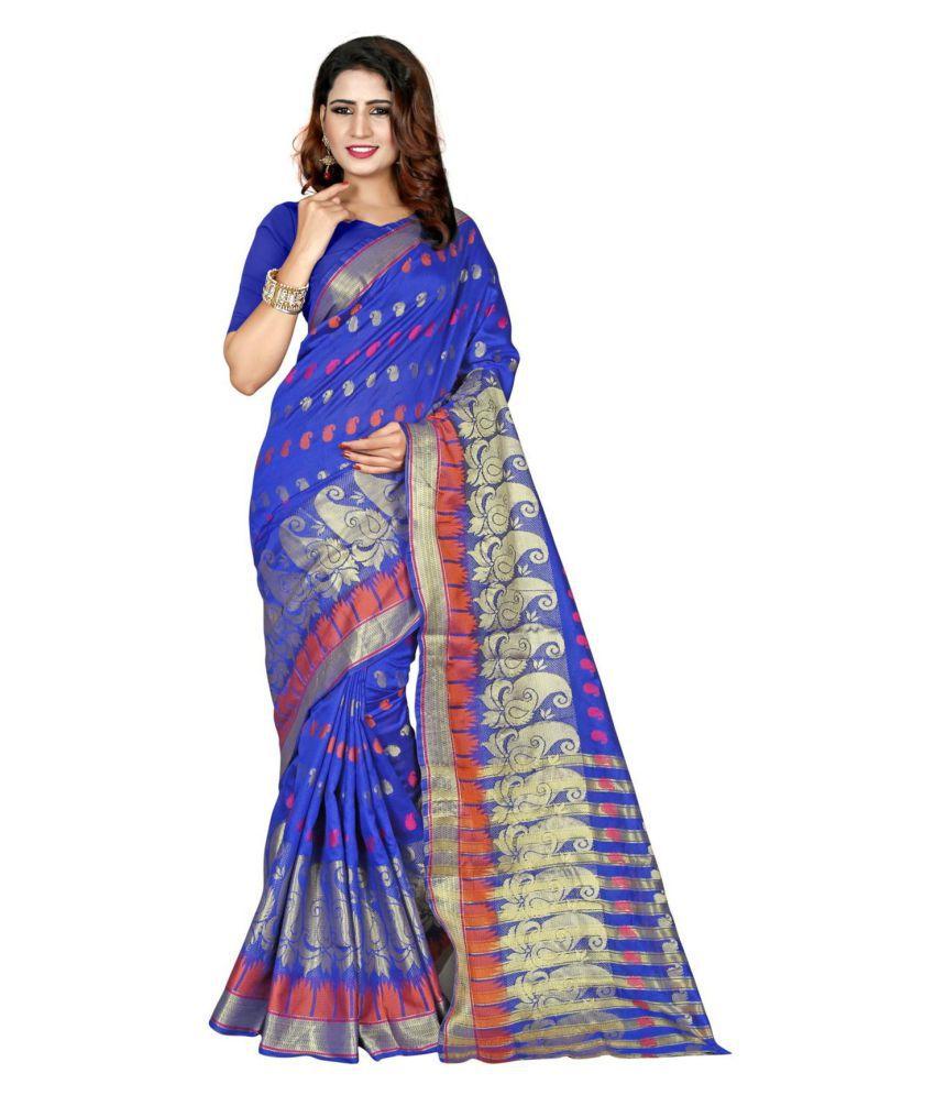 Sudarshan Silks Blue Cotton Silk Saree