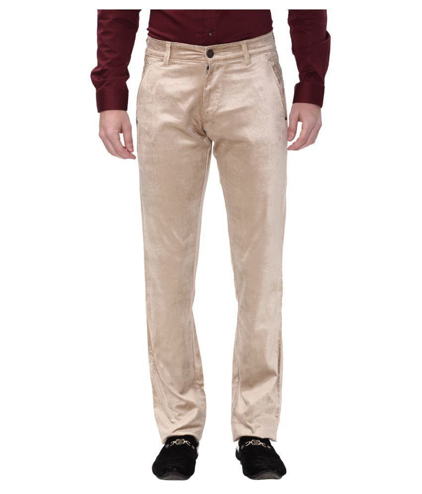 Apris Beige Slim -Fit Flat Trousers