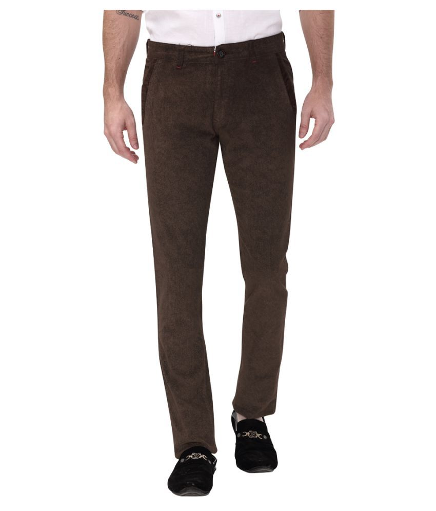 Apris Brown Slim -Fit Flat Trousers