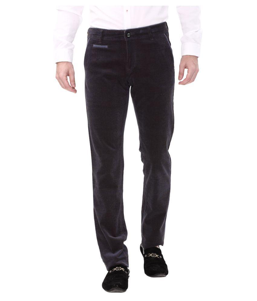 Apris Navy blue Slim -Fit Flat Trousers