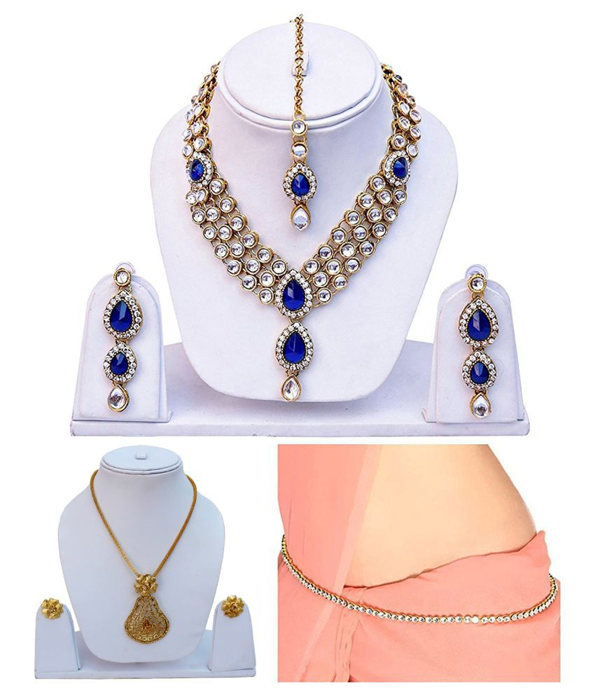 Lucky Jewellery Alloy Necklace set Combo with Kamarband