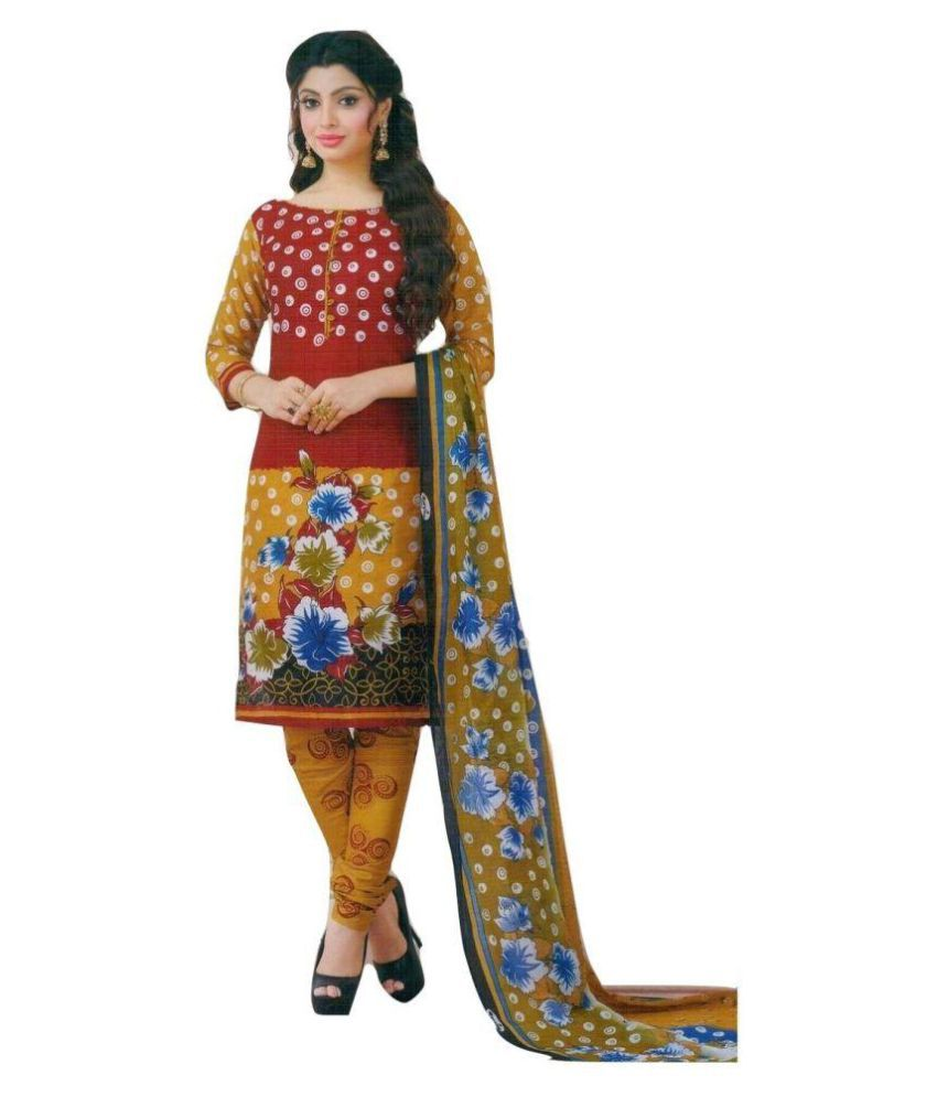SNS Multicoloured Cotton Dress Material