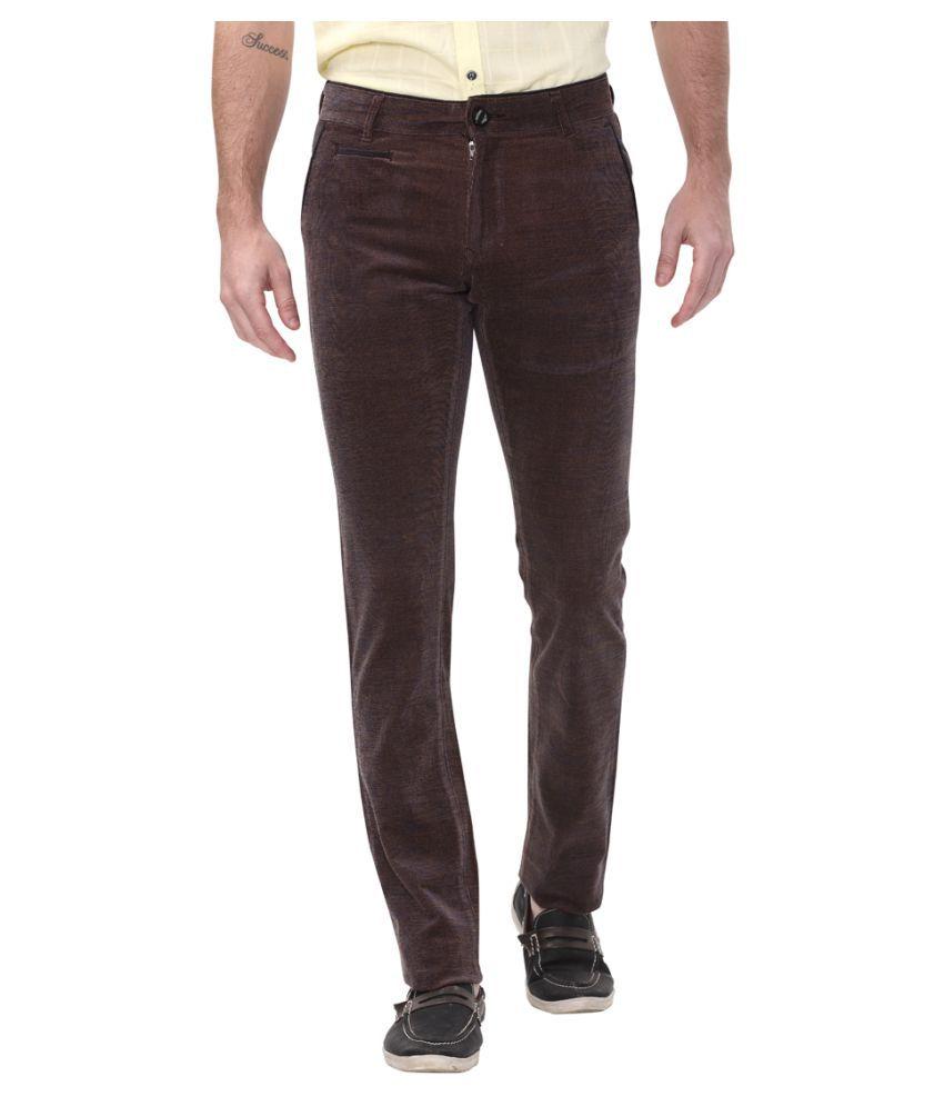 Apris Brown Slim -Fit Flat Trousers