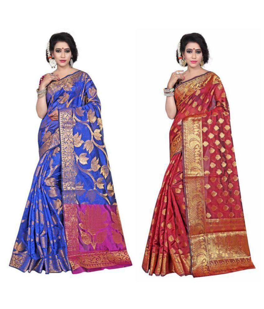 Gazal Fashions Multicoloured Banarasi Silk Saree Combos