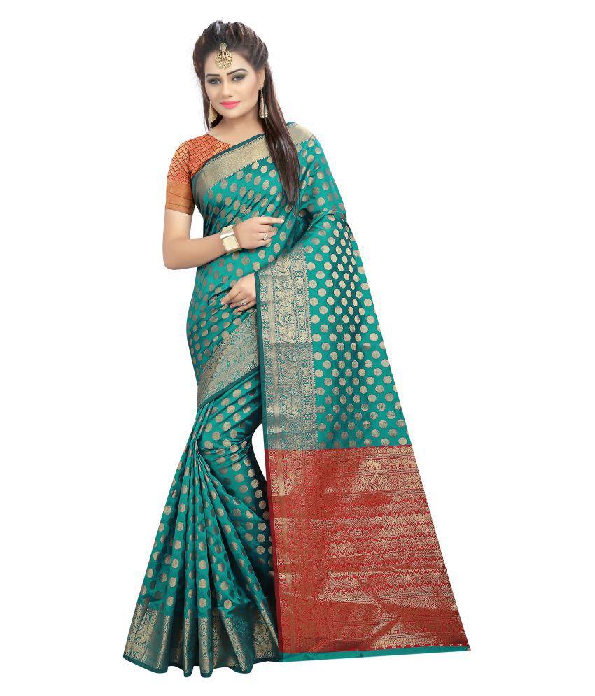Dream Star Green and Grey Banarasi Silk Saree