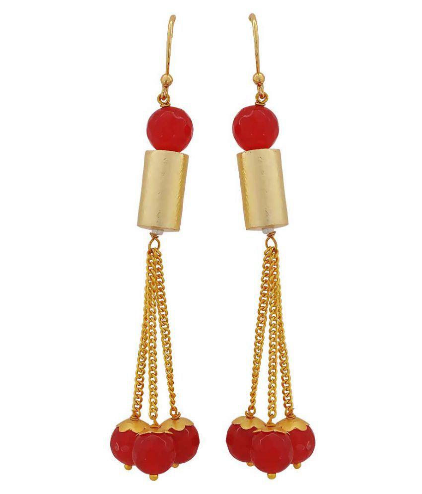 Maayra Cocktail Hanging Earrings Maroon Dangler Drop Party Jewellery