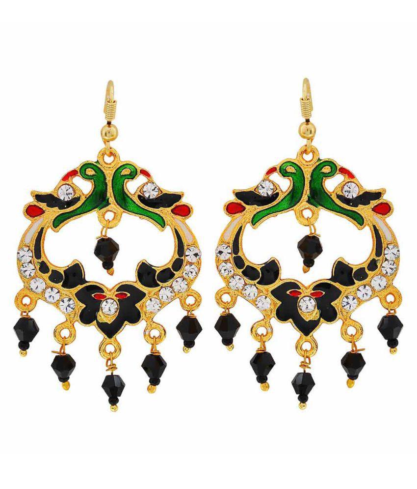 Maayra Peacock Meenakari Earrings Multicolour Dangler Drop Wedding Festival Jewellery