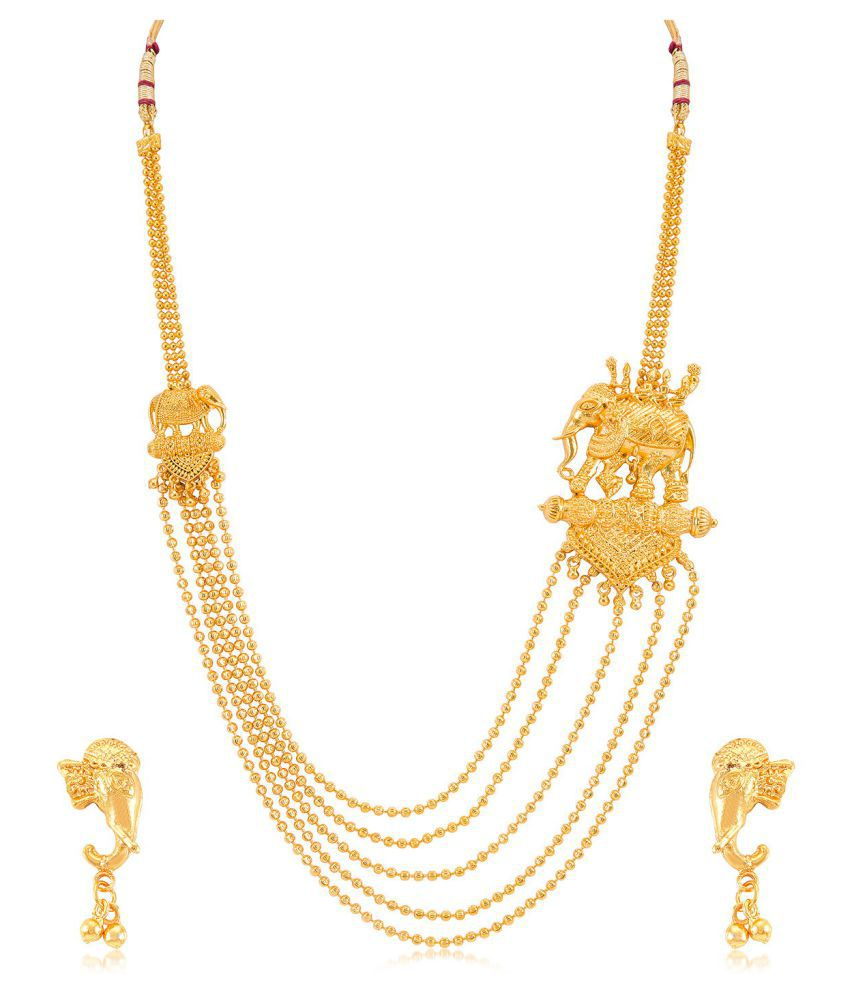 Sukkhi Alluring 5 String Bahubali Inspired Gold Plated Necklace Set for women