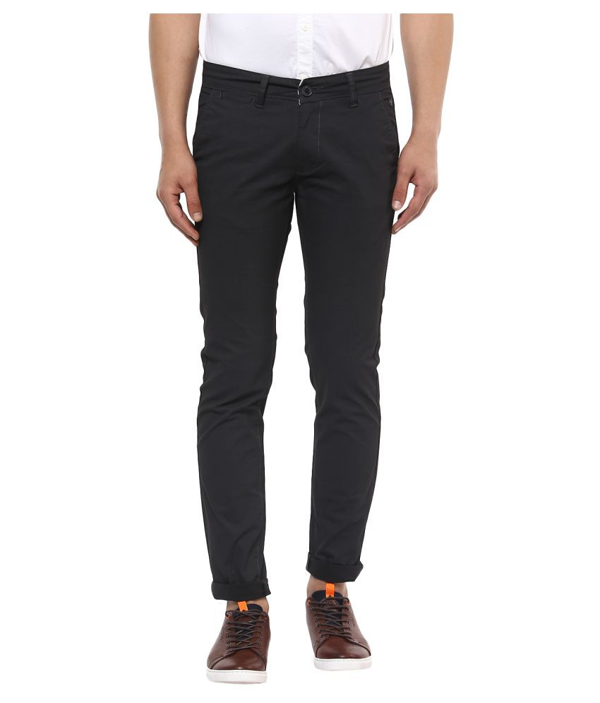 Mufti Grey Slim -Fit Flat Trousers