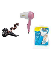 Ibs Hair Styler Waver Curler Simply WITH velvet soft Hair dryer PEDICURE callus remover combo set of 3 ( Multicolor )