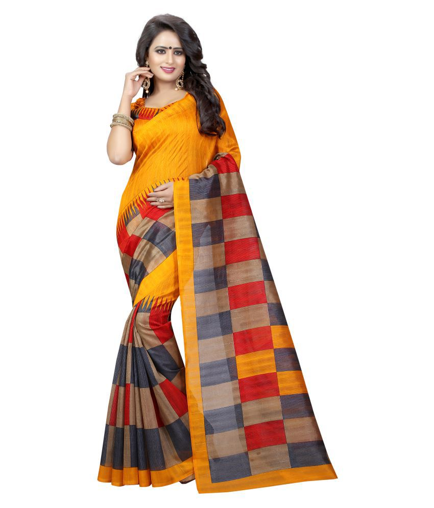 1f6e3cb7300 Winza Designer Yellow and Beige Cotton Silk Saree