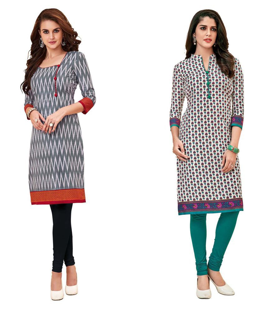 HRINKAR Grey Cotton Straight Kurti