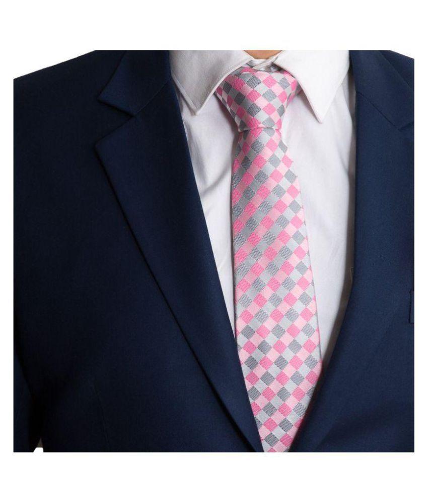 to the nines Pink Checks Silk Necktie